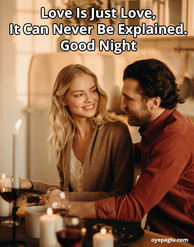 good night image of couple with smile