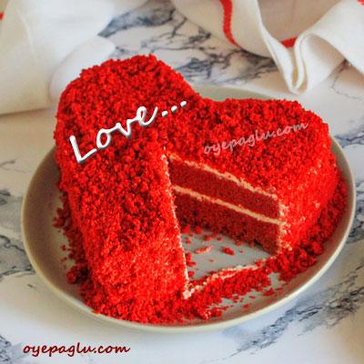 romantic dp for whatsapp red heart cake