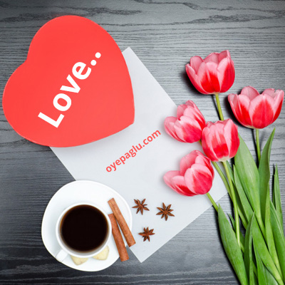 Love heart with cup