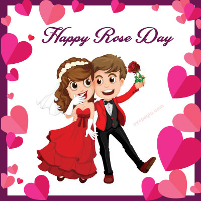 couple happy rose day