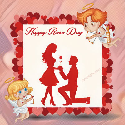 girl and boy happy rose day
