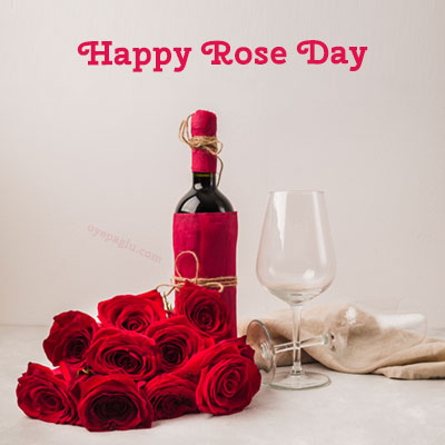 happy rose day with drink