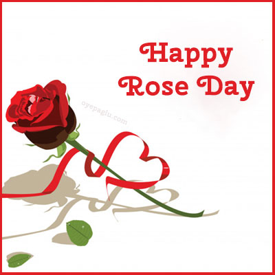 happy rose day with rose and ribben heart