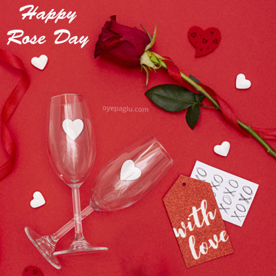 happy rose day with wine glass and rose