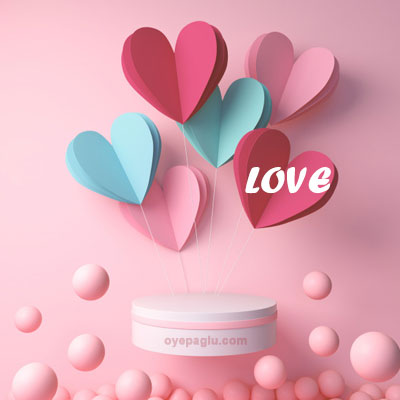 3d rendering of podium display with heart and pink ball love image