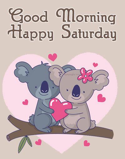 Cute koala couple good morning saturday image