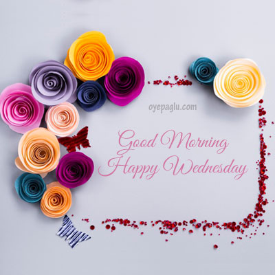 Paper flowers frame good morning wednesday image