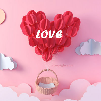 Red balloon in heart shape flying love image