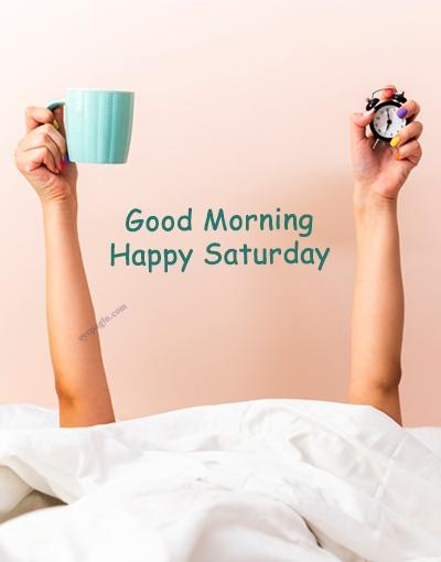 tea on bed good morning saturday image