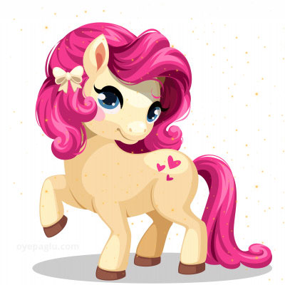 Little white pony with pink colored hairstyle stylish dp