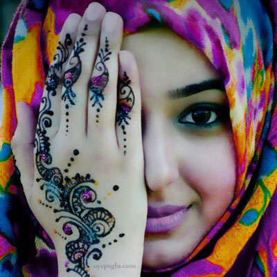 beautiful eyes with mehndi design muslim girls dp