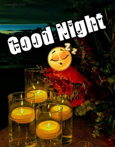 sleeping emoji with Good night candle images
