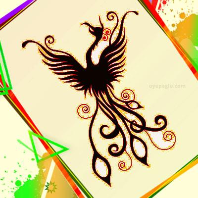 silhouette of phoenix tattoo for girls